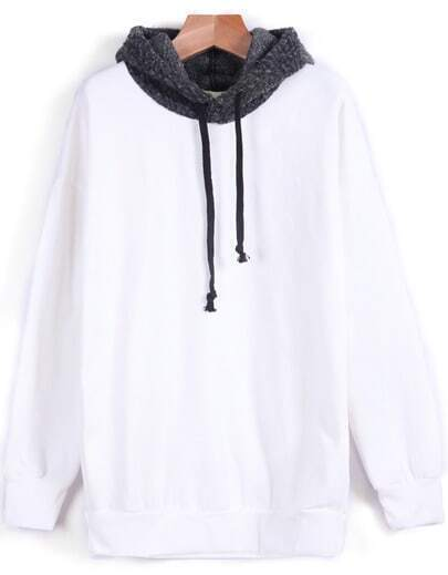White Contrast Hooded Long Sleeve Sweatshirt