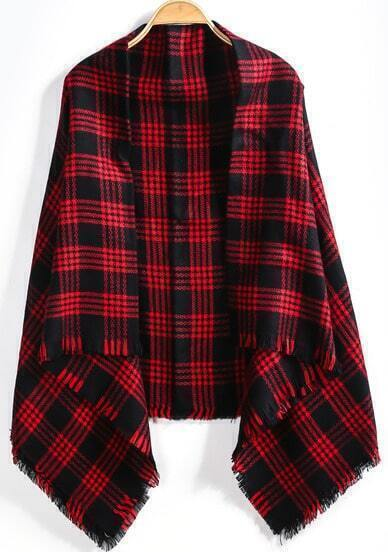 Black Red Plaid Fringe Scarve