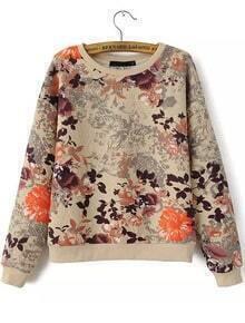 Apricot Long Sleeve Floral Print Sweatshirt