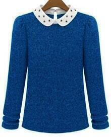 Blue Contrast Collar Long Sleeve Knit Sweater