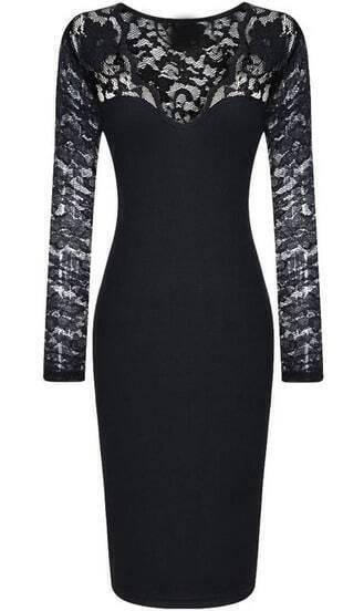 Black V Neck Long Sleeve Lace Bodycon Dress