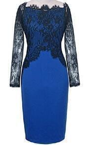 Blue Lace Long Sleeve Bodycon Dress