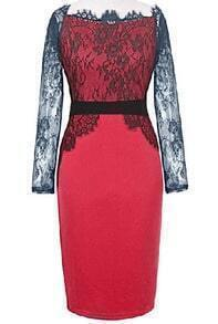 Red Lace Long Sleeve Bodycon Dress