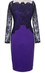 Purple Lace Long Sleeve Bodycon Dress