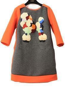 Orange Grey Cartoon Dog Embroidered Dress