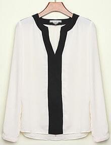 White Contrast V Neck Long Sleeve Loose Blouse