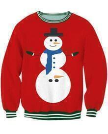 Red Merry Snowman Print Long Sleeve Sweatshirt