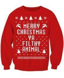 Red Merry Christmas Print Long Sleeve Sweatshirt
