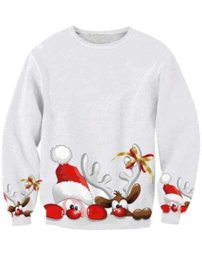 White Deer Print Christmas Xmas Warm Nicest Long Sleeve Sweatshirt