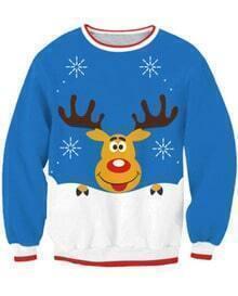 Blue Deer Print Long Sleeve Sweatshirt