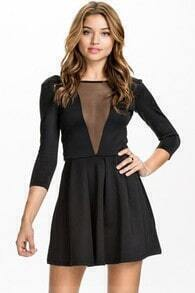 Black Backless Long Sleeve Pleated Dress