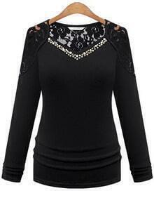 Black V Neck Long Sleeve Lace T-Shirt