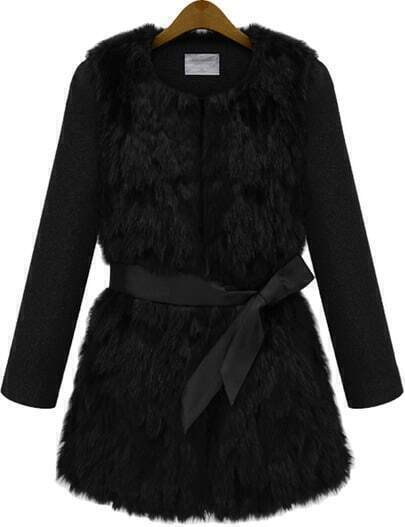 Black Long Sleeve Belted Faux Fur Coat