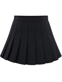 Black Buttons Pleated Skirt