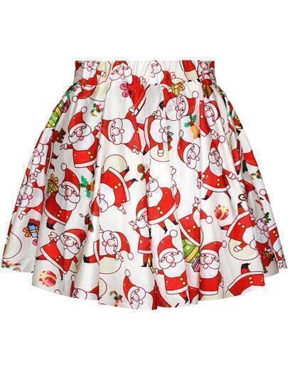 White Santa Claus Print Flare Skirt