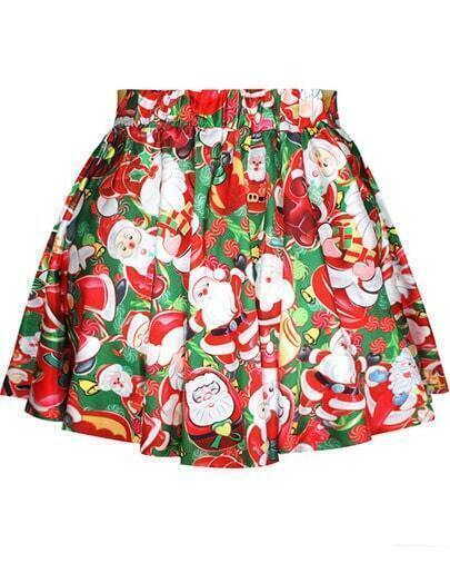 Red Santa Claus Print Flare Skirt