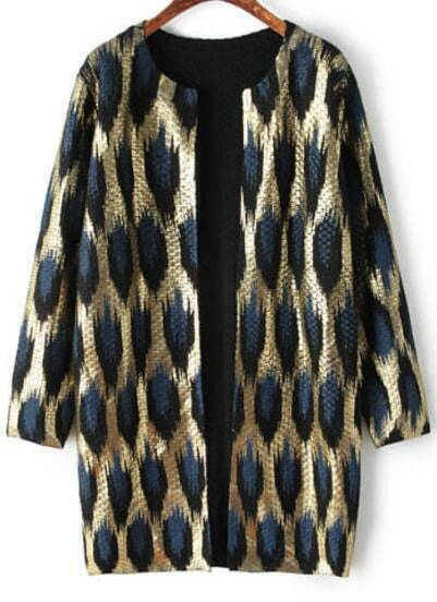 Gold Long Sleeve Leopard Knit Cardigan