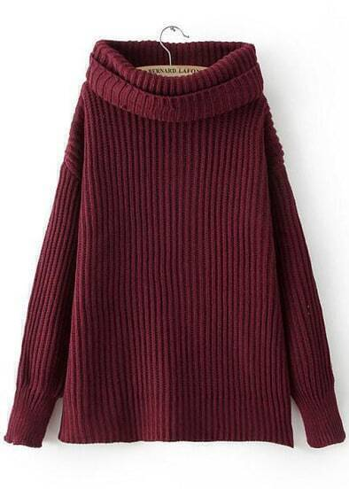 Wine Red High Neck Long Sleeve Loose Chunky Sweater
