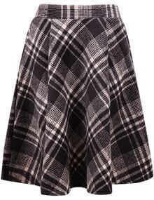 Khaki Plaid Pleated Skirt