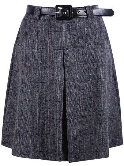 Grey Plaid Pleated Woolen Skirt