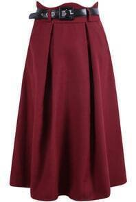 Wine Red Pleated Woolen Skirt