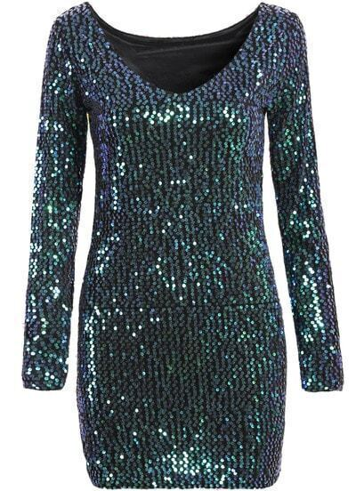 Green V Neck Sequined Bodycon Dress