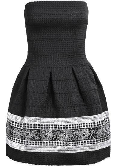 Black Silver Strapless Embroidery Pleated Dress