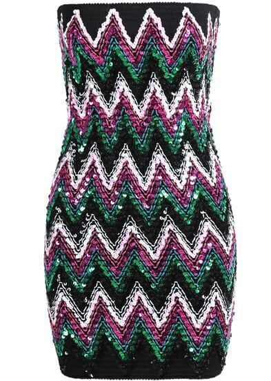 Purple Strapless Sequined Striped Bodycon Dress
