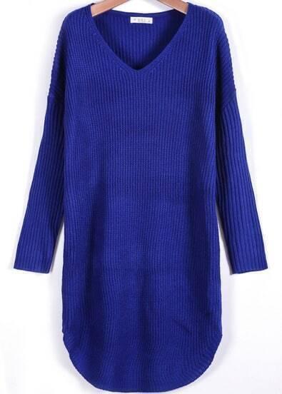 Blue V Neck Long Sleeve Loose Sweater