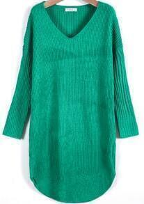 Green V Neck Long Sleeve Loose Sweater