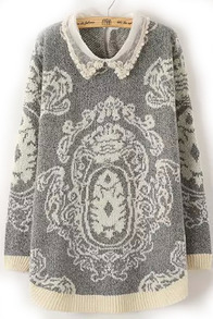 Grey Lapel Vintage Print Knit Sweater