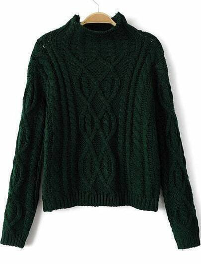 Green High Neck Long Sleeve Cable Knit Sweater