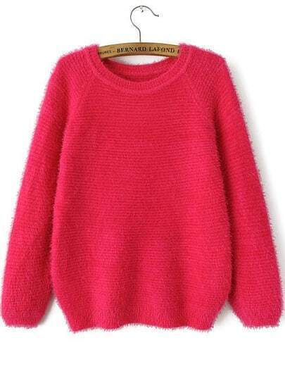 Rose Red Round Neck Long Sleeve Mohair Loose Sweater