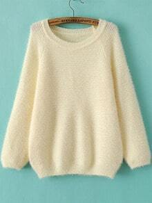 White Round Neck Long Sleeve Mohair Loose Sweater