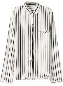 White Lapel Long Sleeve Striped Blouse