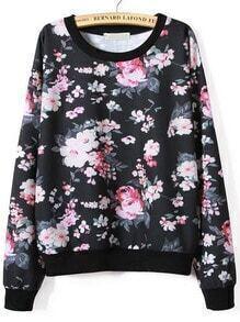 Black Long Sleeve Floral Print Sweatshirt