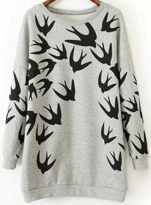 Grey Round Neck Swallow Print Dress