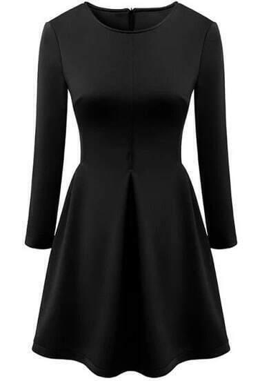 Black Round Neck Waist Hollow Dress