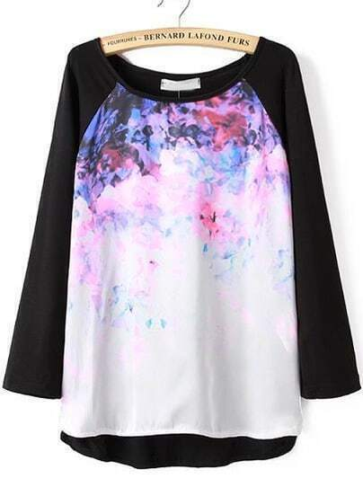 Black Long Sleeve Print Loose T-shirt