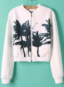 White Stand Collar Long Sleeve Tree Print Jacket