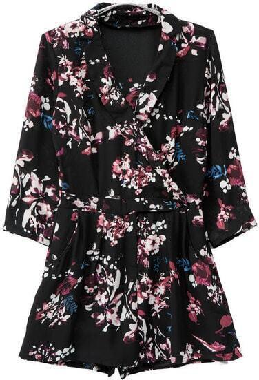 Black Lapel Long Sleeve Floral Print Jumpsuit