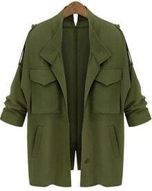 Army Green Long Sleeve Pockets Loose Coat