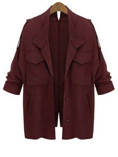 Wine Red Long Sleeve Pockets Loose Coat