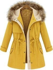 Yellow Hooded Long Sleeve Drawstring Coat