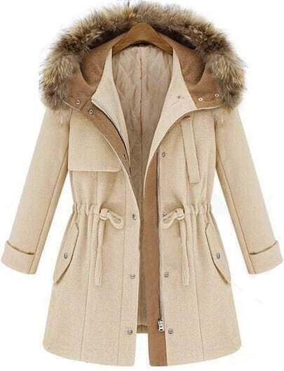 Abrigo con capucha manga larga-beige