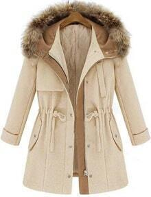 Beige Hooded Long Sleeve Drawstring Coat