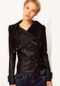 Black Lapel Long Sleeve PU Crop Coat