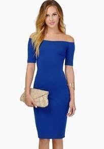 Blue Off the Shoulder Slim Bodycon Dress