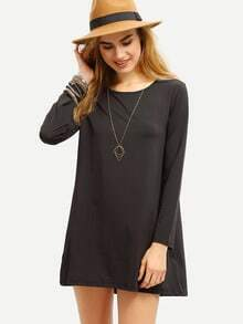 Black Long Sleeve Loose High Low Dress