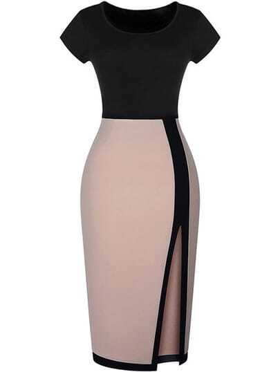 Black Lenght Apricot Short Sleeve Split Bodycon Dress